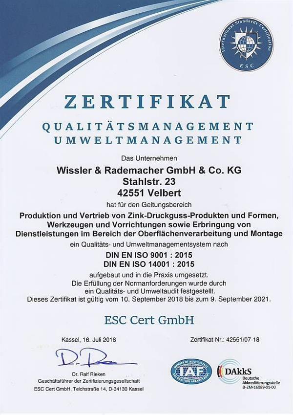 quality assurance environmentt certificate - Wissler & Rademacher ...